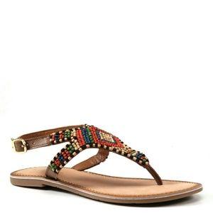 DIBA TRUE | Red Row Beaded Thong Sandal NIB